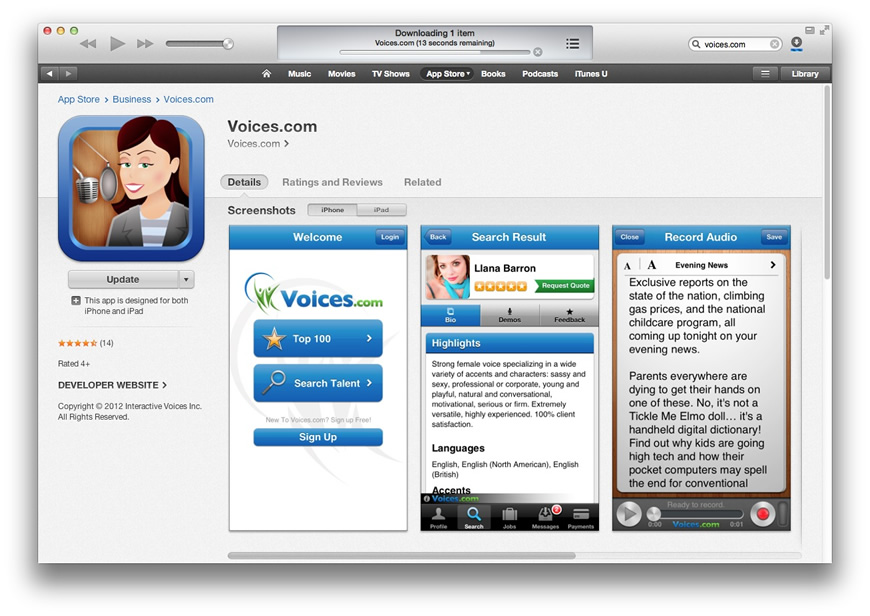 App Store Listing for Voices.om iPhone App