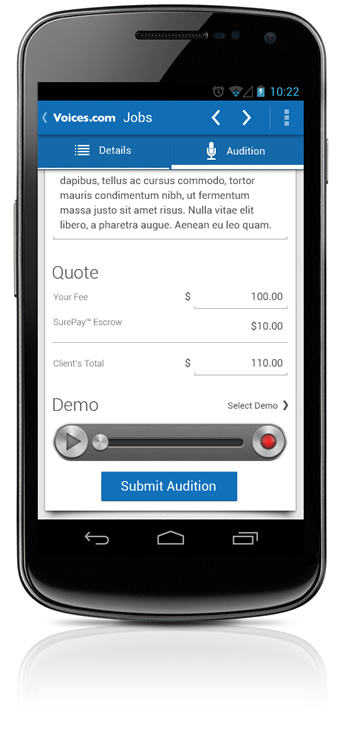 Submitting Voice Acting Auditions From Android