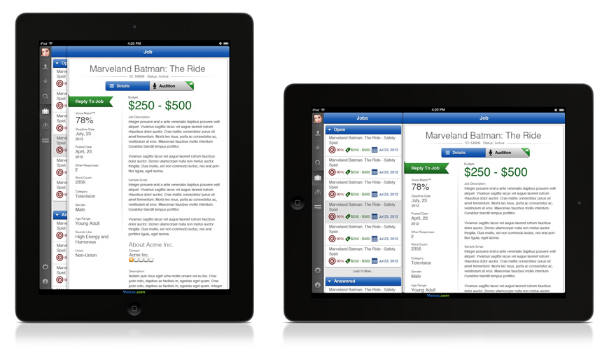 Voice Over Jobs on iPad
