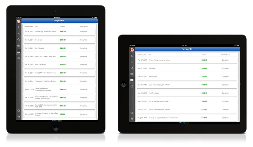 Managing Your Payments List with the Voices.com iPad App