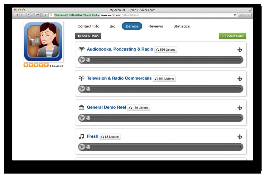 How do I reorder my demos on Voices.com?