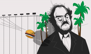 An illustration of Stanley Kubrick eyes a flying hamburger