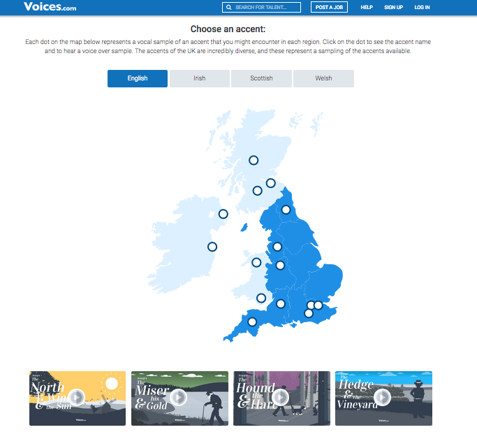 A screenshot of the Voices.com UK accent map