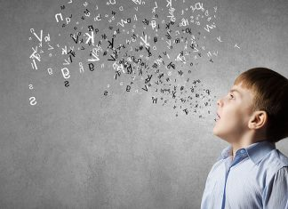 Illustration of a young boy with letters coming out of his mouth to express vocal direction.
