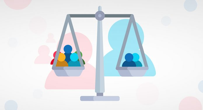 Infographic style. A weigh scale with 5 people on the left side, and 2 people on the right side to depict the pros and cons on using many voice actors for 1 character each, or fewer voice actors for many characters each, when casting voice over for elearning courses.