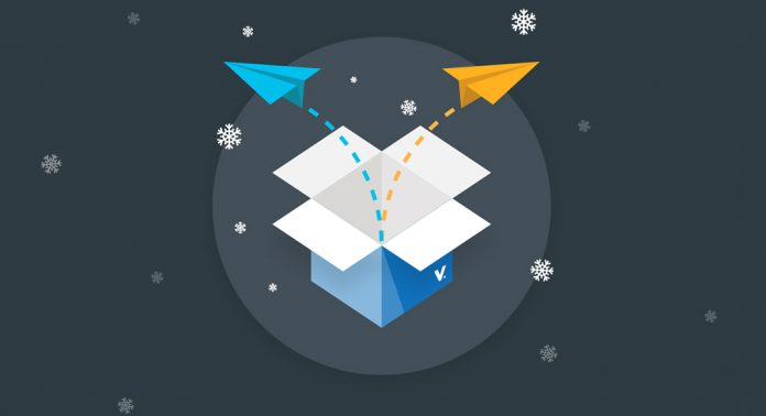 An open blue box with paper airplanes coming to depict notes about the Voices.com product updates being sent out.