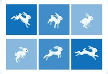 an white animated rabbit hopping captured in 6 freeze frames to signifying the use of animation in advertising