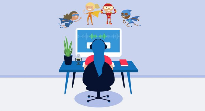 Cartoon image of a voice actor sitting at her computer listening to her character voice over demos