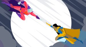 A cartoon image of a hero and a villain flying through the sky towards each other as if to begin a battle.