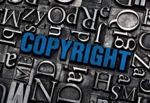 the word 'copyright' highlighted in blue, surrounded by letter stamp in times new roman font.