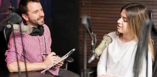 a man interviewing a woman on a podcast