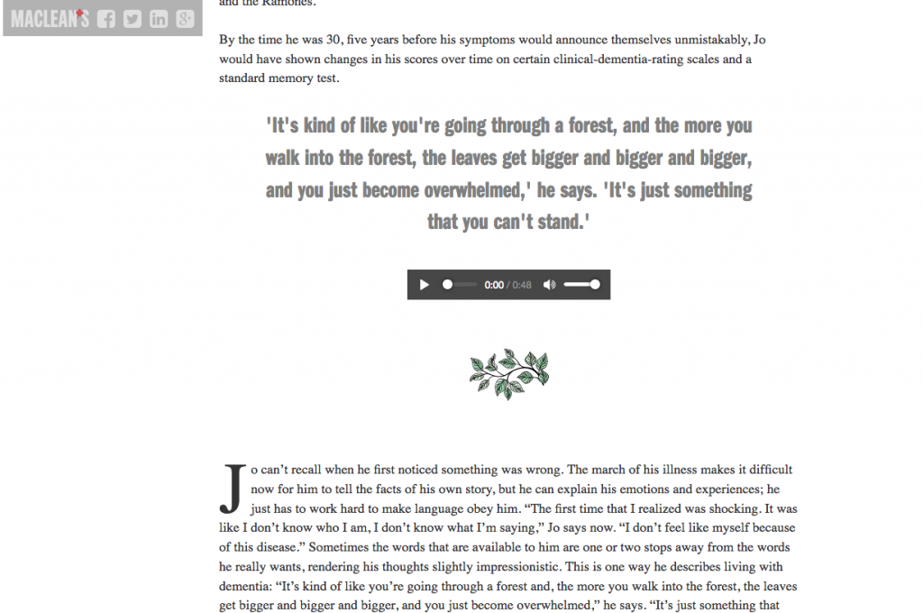 A screenshot of Maclean's magazine online shows a tiny audio player embedded in the middle of the article.