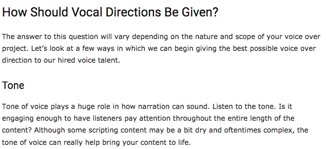 Screen shot depicts article on how vocal directions should be given.
