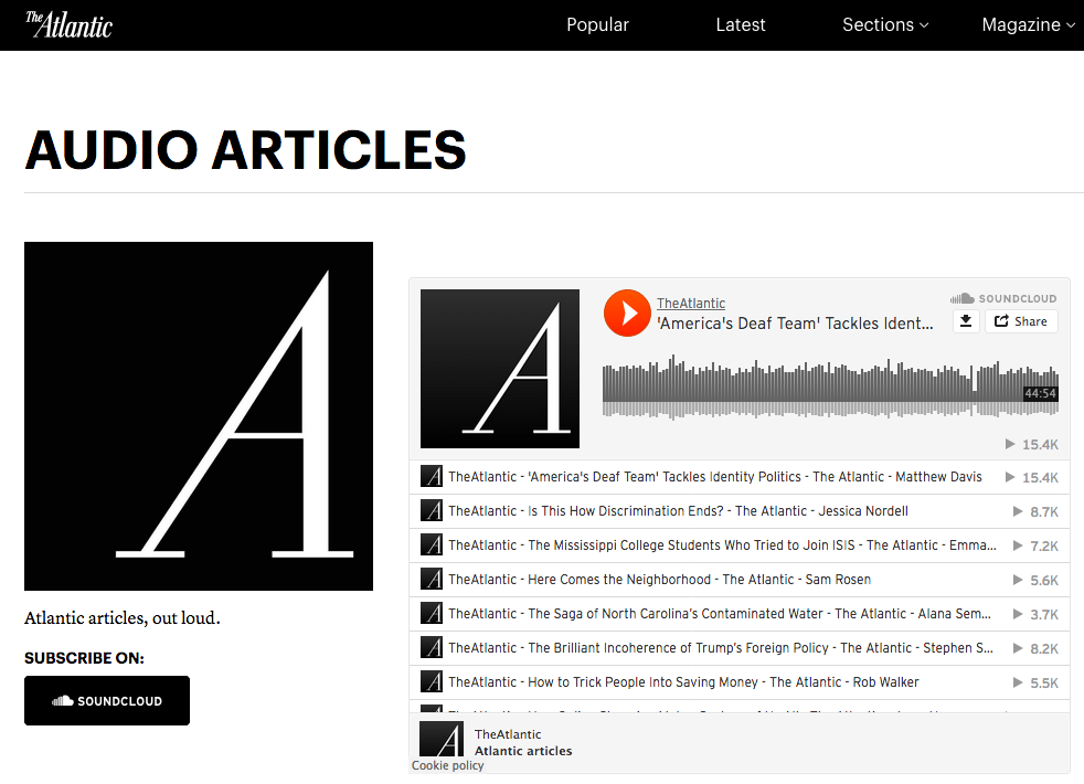 A screenshot of the Atlantic publication shows a page full of audio article content.