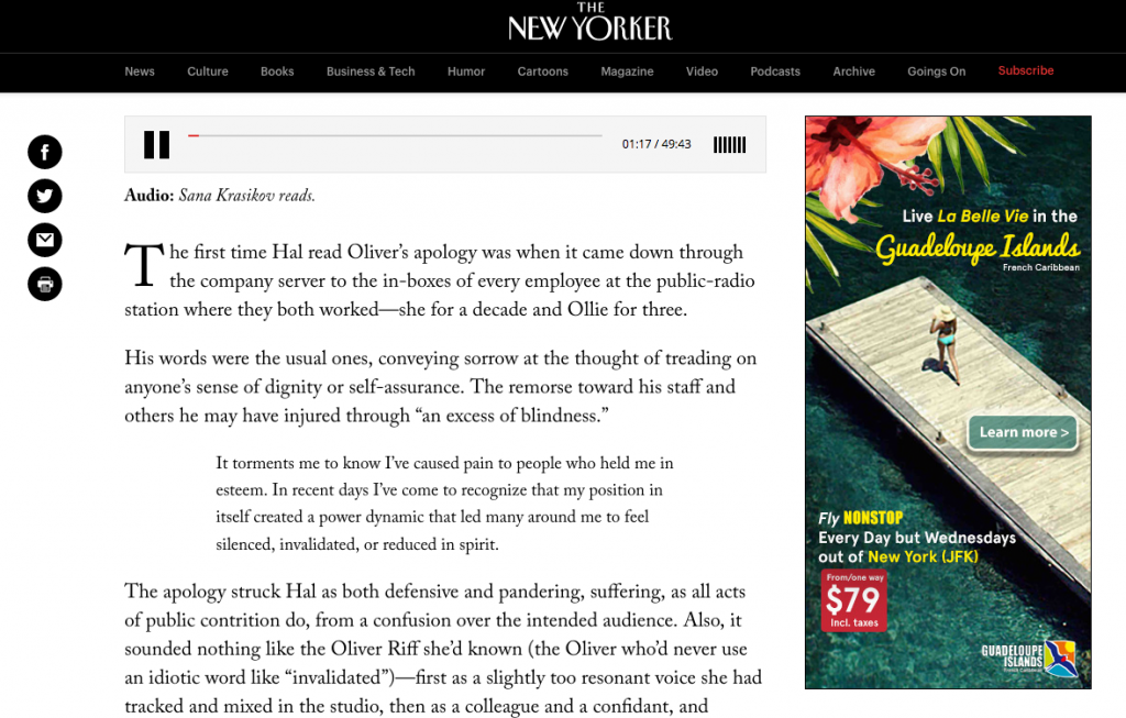 A screenshot of the New Yorker Article shows that an audio player is embedded at the top of the page.