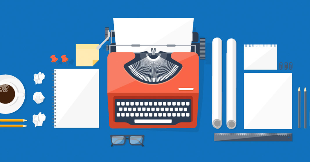 Animated image of a typewriter, paper, writing material and a cup of coffee on a desk.
