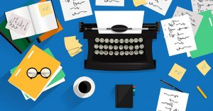 An animation of an old school typewriter with handwritten notes and papers on a blue desk.