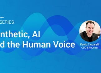 A blue banner shows illustrated waves and an icon of Voices.com CEO David Ciccarelli