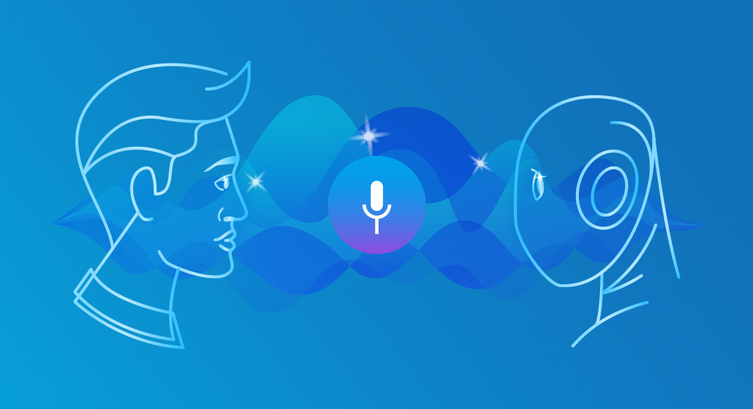 Animation of man and robot looking at each other with a voice icon in between them