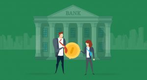 Animated image of a man and a woman holding a large coin in front of a bank.
