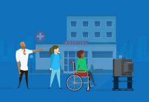 Animated image of a doctor, nurse and patient looking at a TV in front of a hospital.