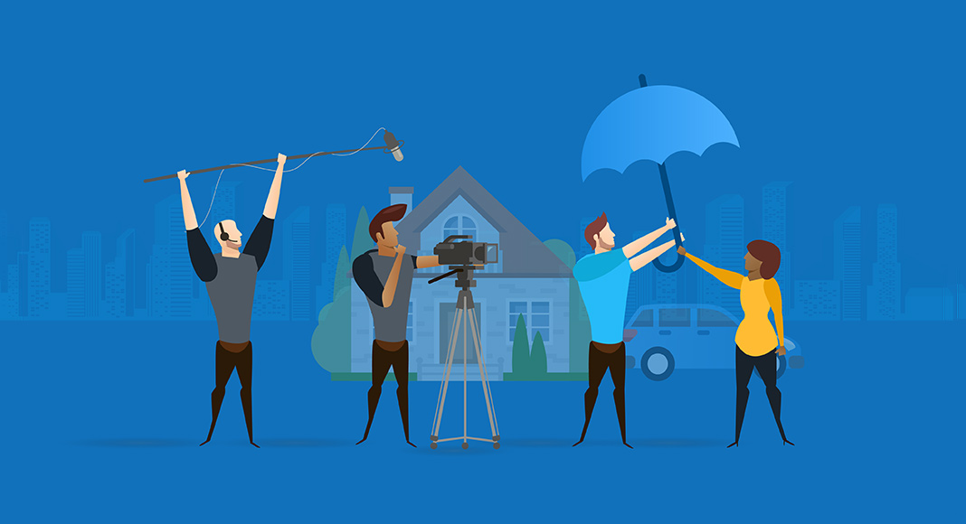 Animated image with blue background showing a man and woman holding an umbrella in front of their house, with a film crew filming them.