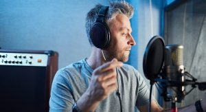 Man recording voice overs