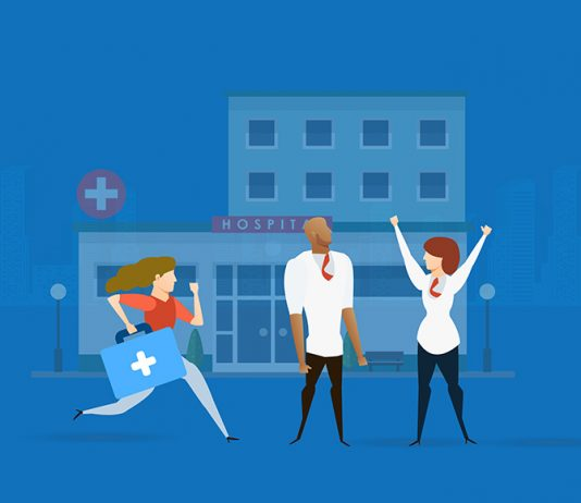 Image for medical sample scripts - image of three medical professionals in front of a hospital.