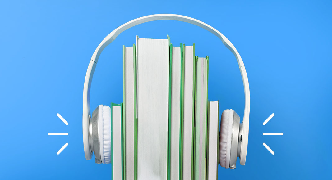 Books with a headphone on