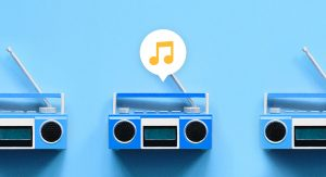 Blue radio with musical note