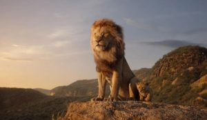 Simba and Mufasa standing on a cliff