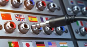 audio ports with flags from different countries