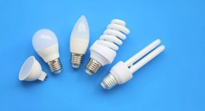 An assortment of light bulbs against a pleasant blue background