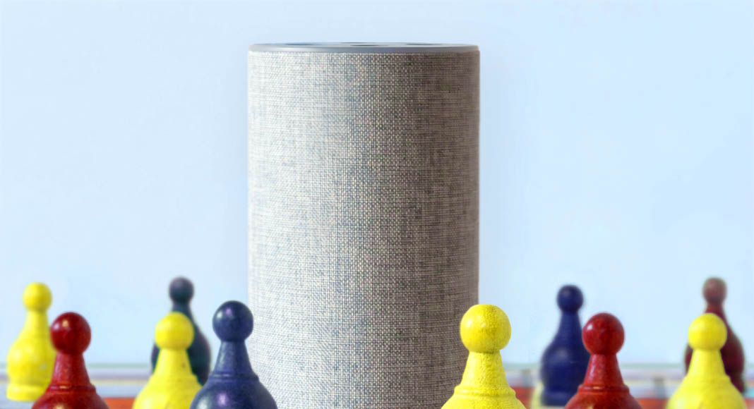 A smart speaker with chess pieces beside it