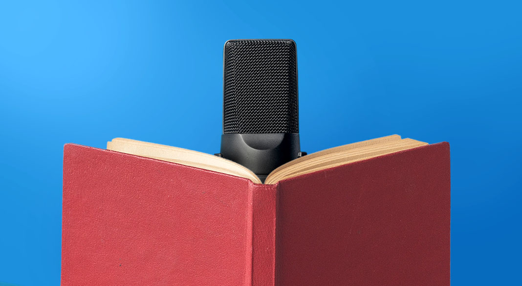 Microphone positioned in front of open book