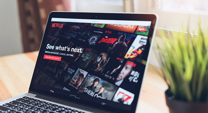 Netflix home screen on laptop
