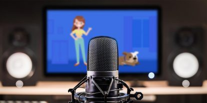 Microphone in front of a television featuring animation