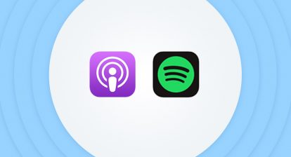 Logo for the Apple Podcasts and Spotify apps within a frame of light-blue sound wave