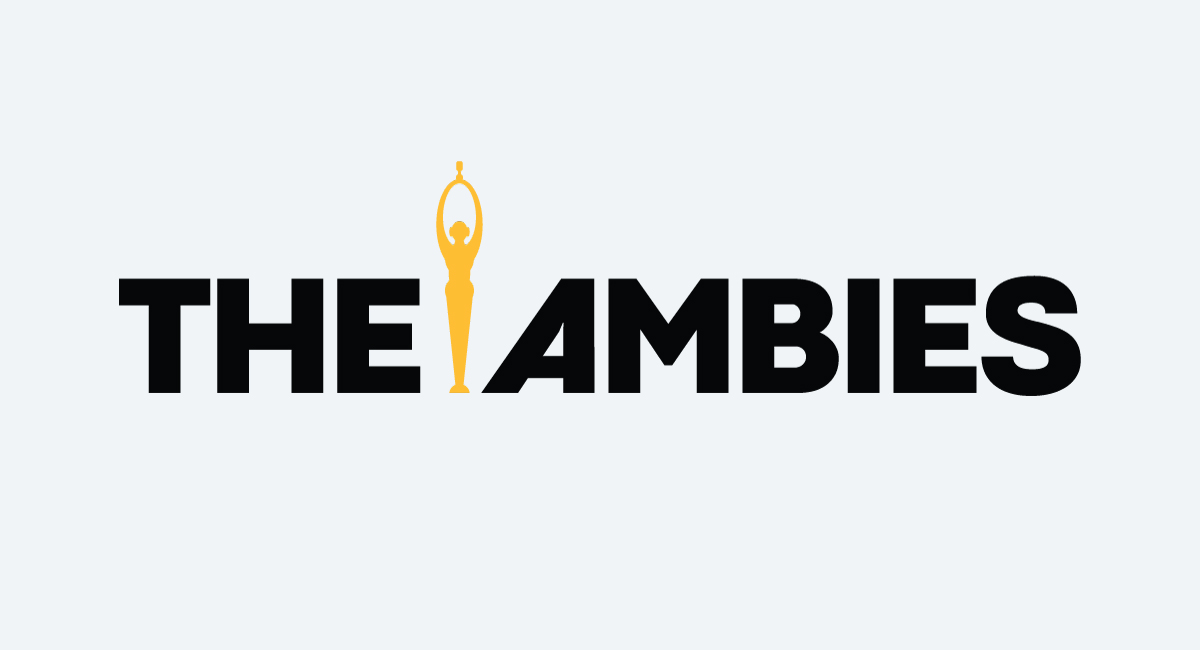 """Black text that reads """"The Ambies"""" in all caps, with a gold trophy sandwiched between the words """"The"""" and """"Ambies"""""""