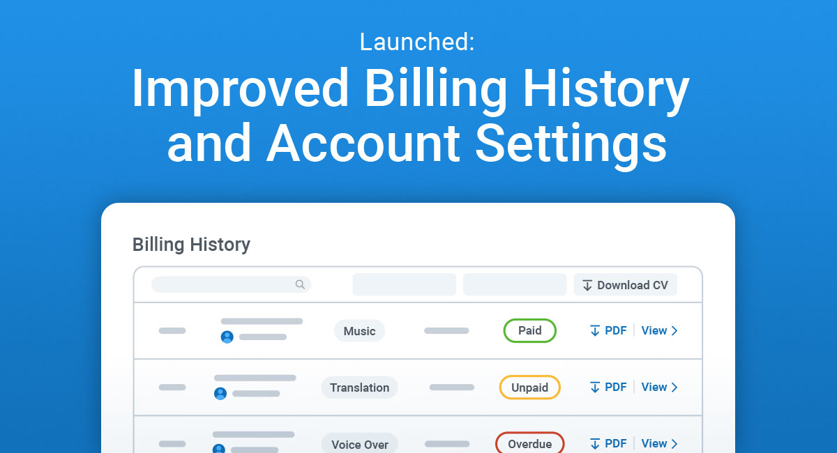 Improved Billing History and Account Settings