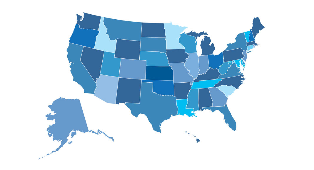 A map of the United States depicts each state and territory in a different shade of blue