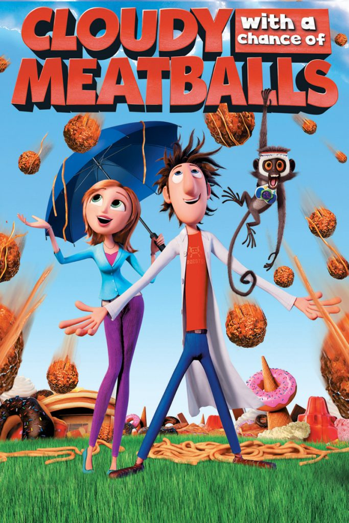 The movie poster for Cloudy with a Chance of Meatballs shows the two main characters standing as meatballs rain down around them