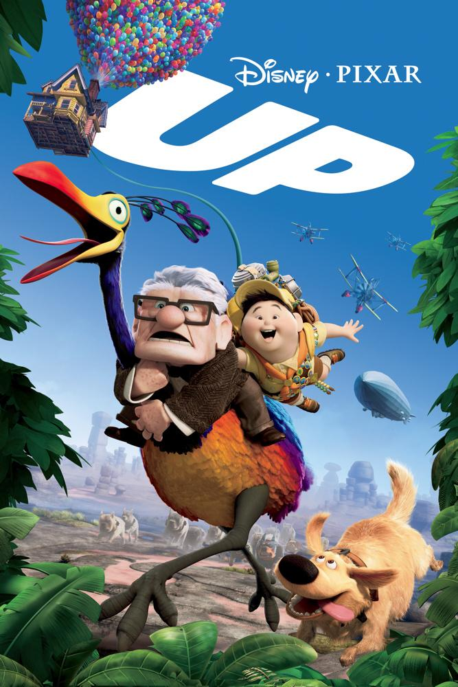 The movie poster for the Disney Pixar movie UP depicts the two main characters and their dog