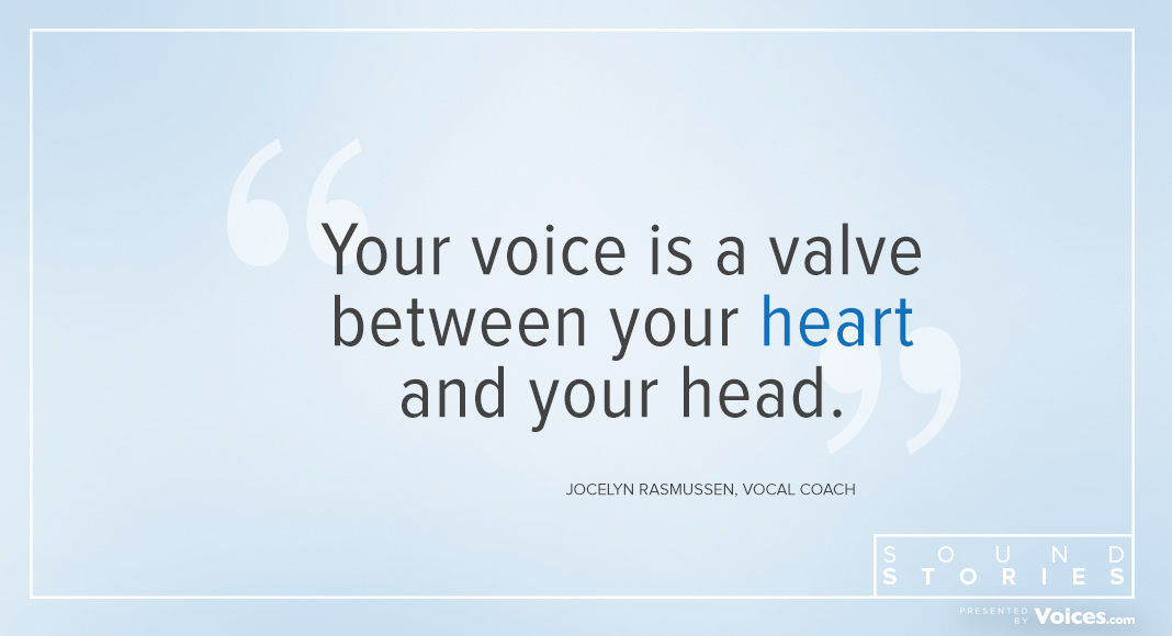 "Quote from Jocelyn Rasmussen says ""Your voice is a valbe between your heart and your head."""