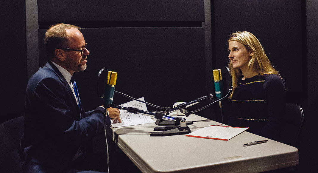 Stephanie Ciccarelli and Keith Tomasek in the studio recording a Sound Stories Podcast episode.
