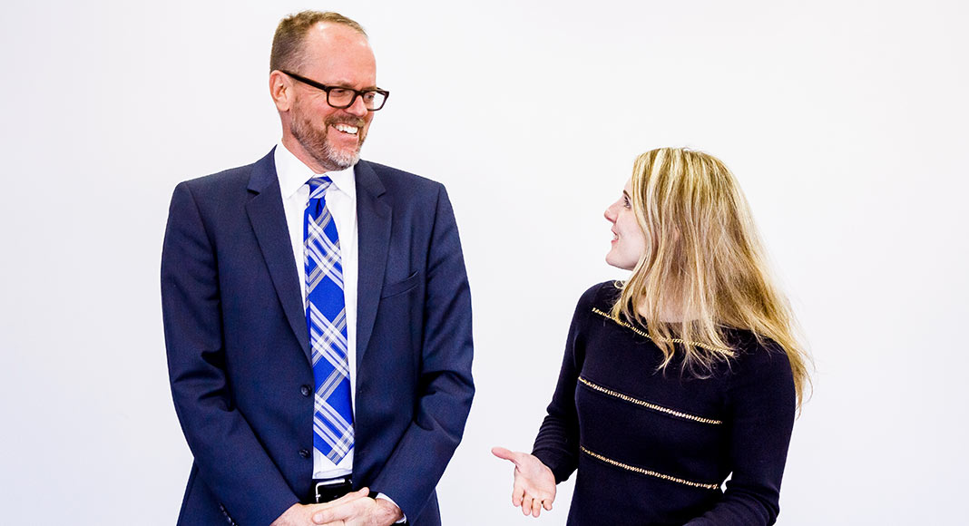 Stephanie Ciccarelli and Keith Tomasek talk and laugh