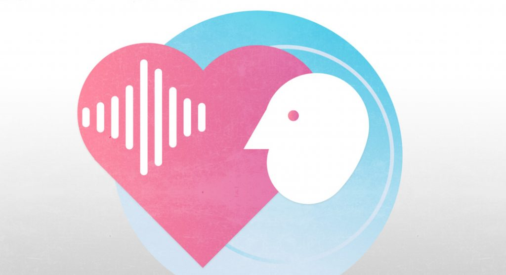 An icon of a heart with sound waves on it and an illustration of a person's face