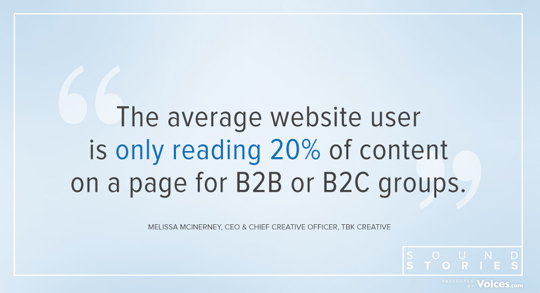 Quote from Melissa that says that the average website user only reads 20 per cent of content on a page for B2B or B2C business sites.