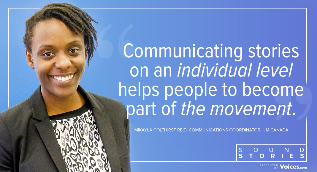 "A photo of Mikayla with a quote saying ""Communicating stories on an individual level helps people to become part of the movement."""