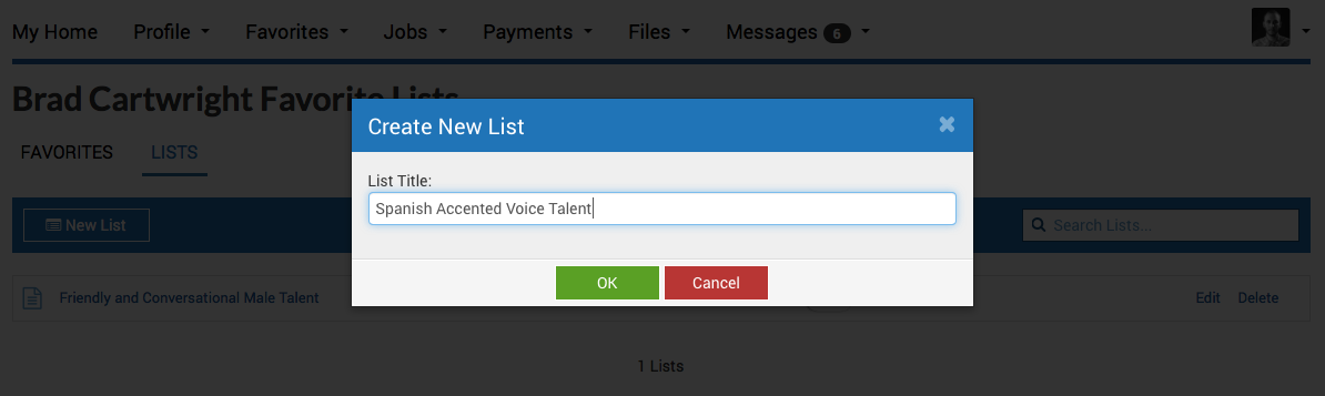 Favoriting voice actor demos online